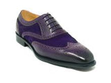 Carrucci Leather and Suede Purple Oxford