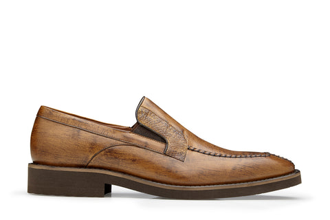 Ostrich and Italian Calf Slip-On with an Ultra Light Rubber Sole - Almond