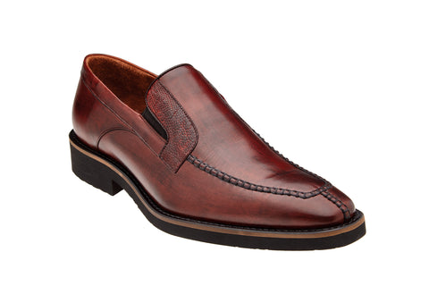 Ostrich and Italian Calf Slip-On with an Ultra Light Rubber Sole