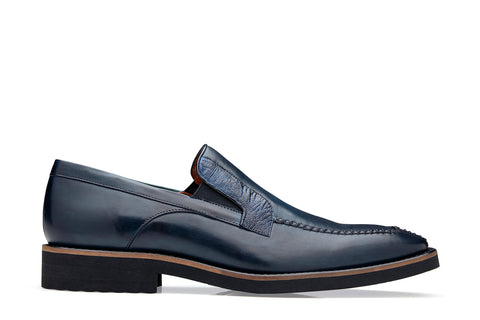 Ostrich and Italian Calf Slip-On with an Ultra Light Rubber Sole - Antique Blue