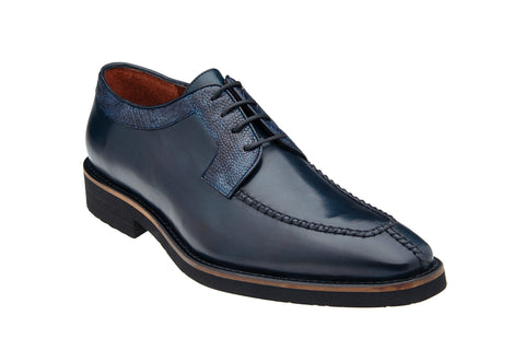 Ostrich and Italian Calf Split Toe Lace-Up with Ultra Light Rubber Sole - Antique Blue