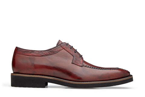 Ostrich and Italian Calf Split Toe Lace -Up with an Ultra Light Rubber Bottom - Wine