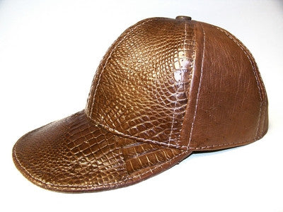 Gator and leather adjustable baseball cap - Brown