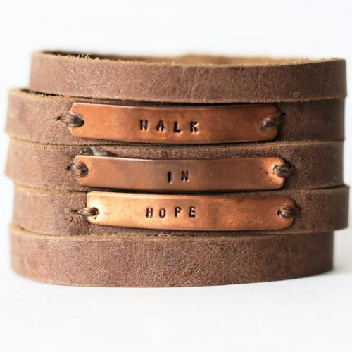 Walk in Hope Leather Cuff