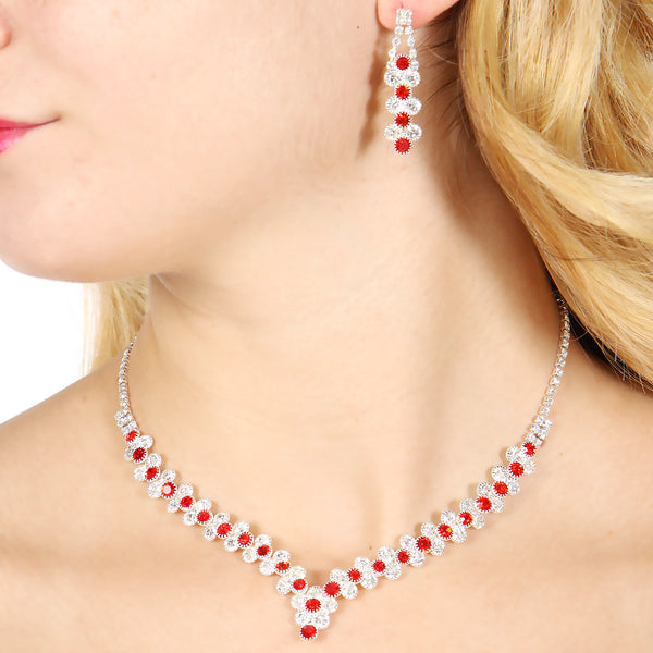 Red rhinestone statement necklace, earrings & bracelet set
