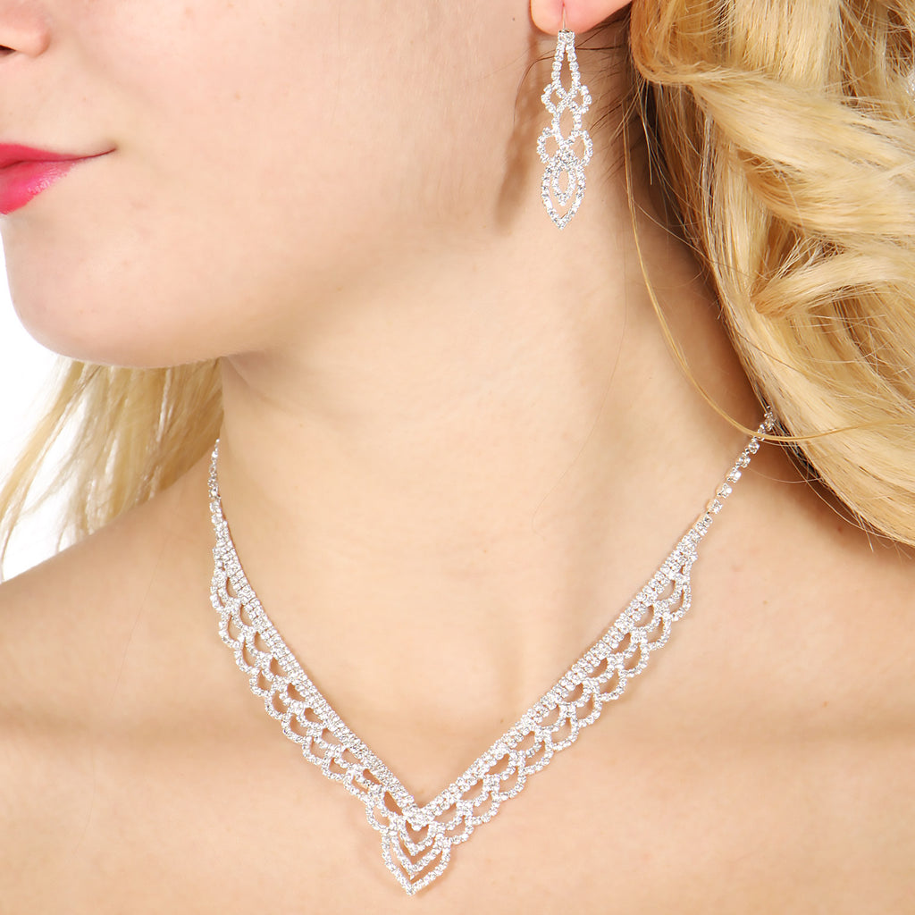 Rhinestone statement V necklace, earrings & bracelet set