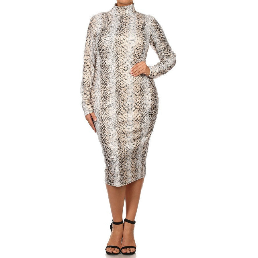 Ivory/Gold Snakeskin Print Dress