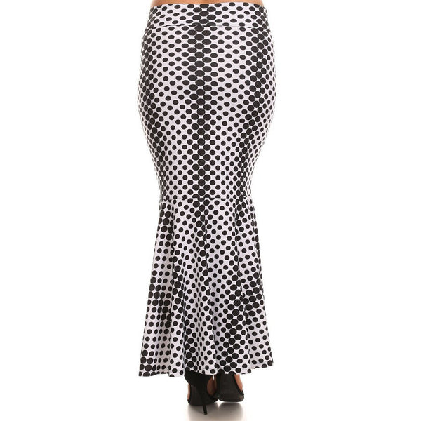 Full Length Skirt Black/White Polkadot