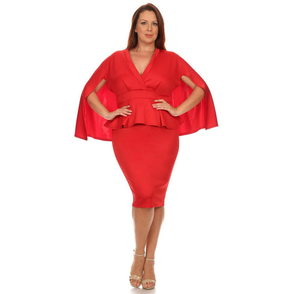 Deep V-Neck Alluring Dress (Red)