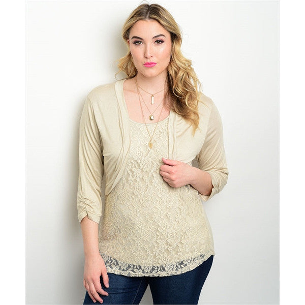 Lace Blouse with attached cardigan