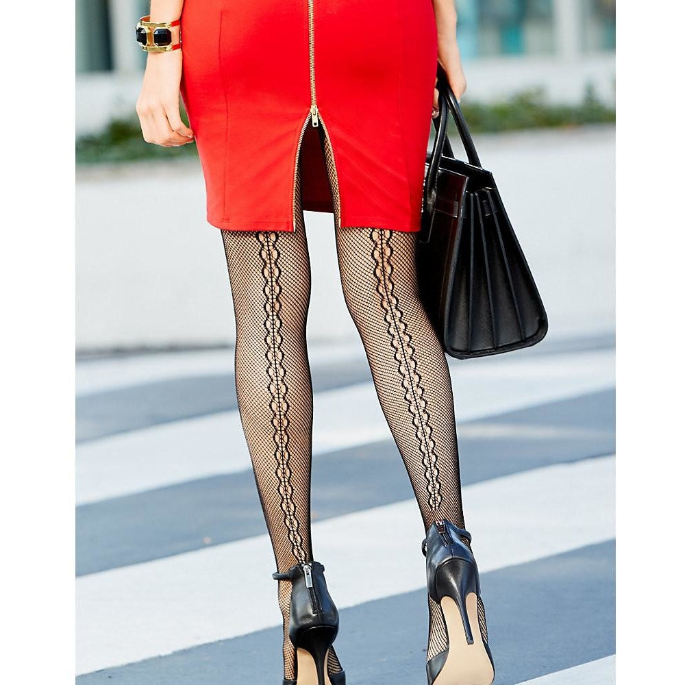 Fashion Backseem Net Tights from Hanes Silk Reflections
