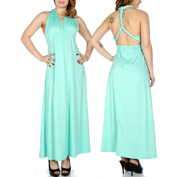 Halter twist back maxi dress
