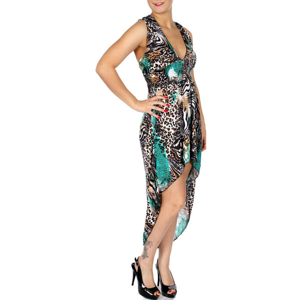High low dress with wild animal pattern