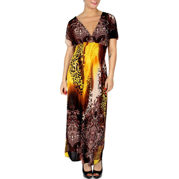 Maxi dress with a deep V neckline and a high elastic band- Wild paisley print