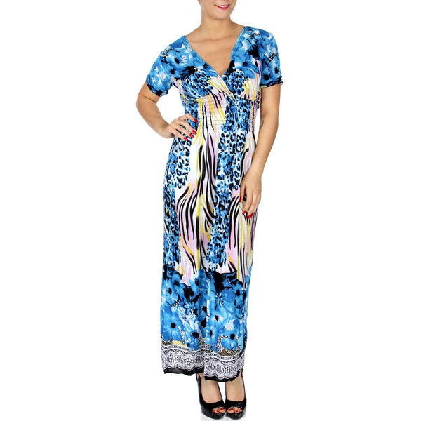 Abstract nature print deep V neck with high elastic band maxi dress