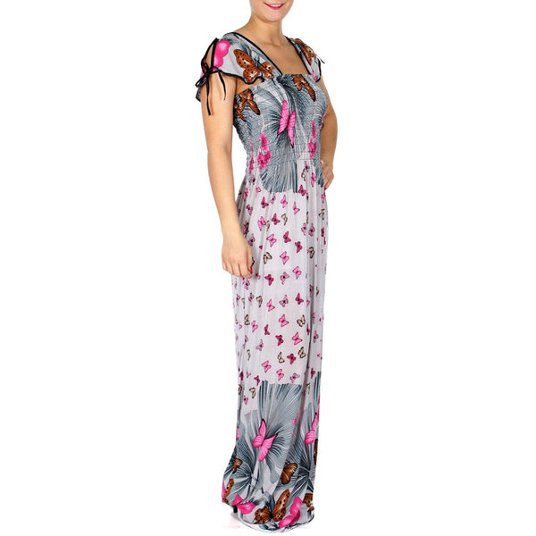 Open Shoulder maxi dress with elastic band and garden butterfly print