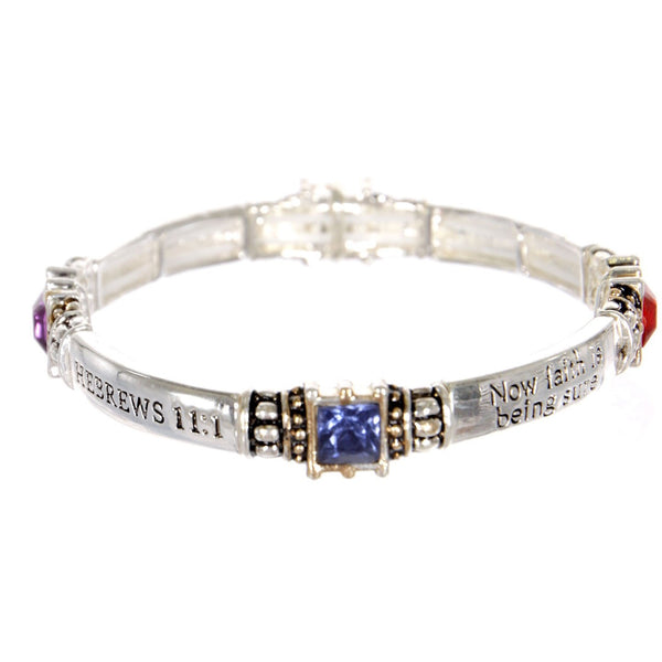 Message Stretch Bracelet with faux gemstones Hebrews 11: 1