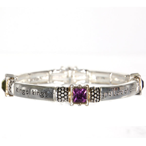 Message Stretch Bracelet with faux gemstones- Revelation 19:16