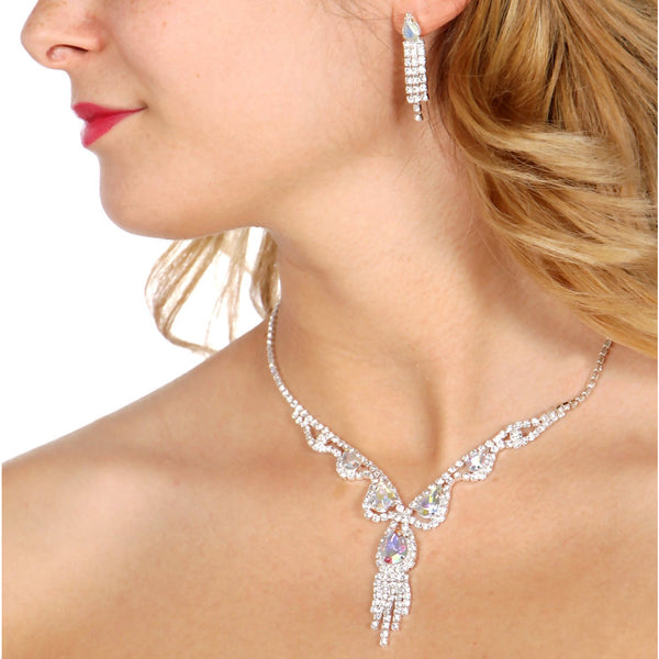 Crystal teardop chandelier necklace set