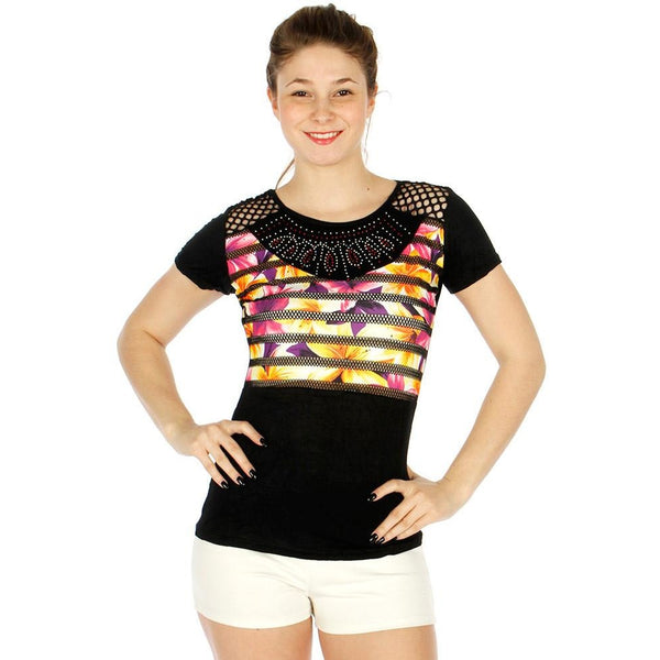 Rhinestone design top  with cutout shoulders