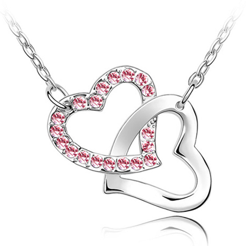Florence Crystal Double Heart Swinging Pendant