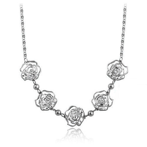 Silver Color Flower Necklace