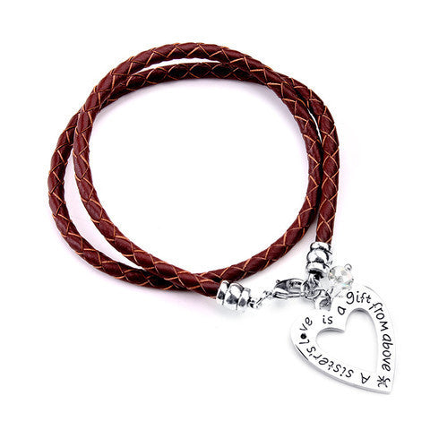 A Sister's Love is a Gift From Above-Hand Stamped Bracelet