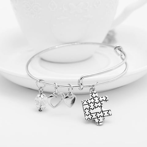 Autism Awareness Puzzle Charms Bangle