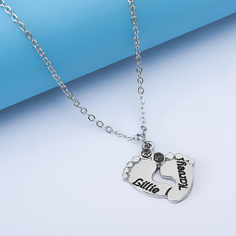 Personalized Footprint Birthstone Pendant