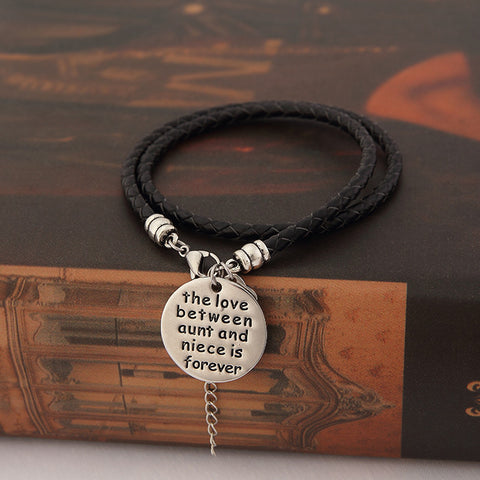 The Love Between Aunt and Niece is Forever- Hand Stamped Bracelet