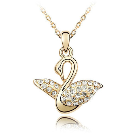 Lovely Swan Gold Necklace