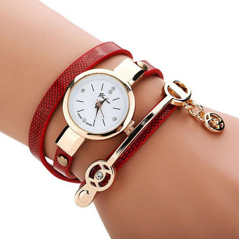 Metal Charm Leather Watch