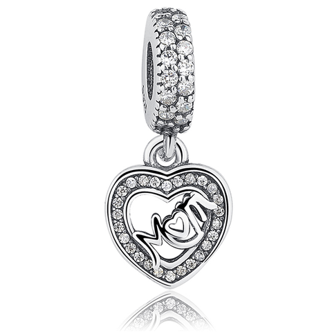 Mom Crystal Heart Charm Pendant