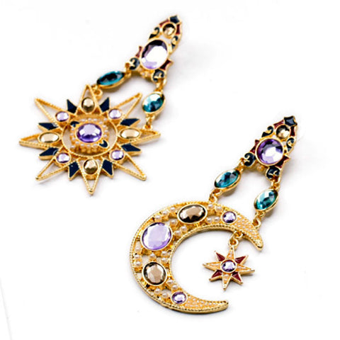Moon and Star Gem Earrings