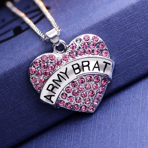 Pink Crystal ARMY BRAT Heart Necklace