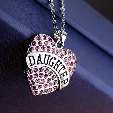 Pink Crystal DAUGHTER Heart Necklace