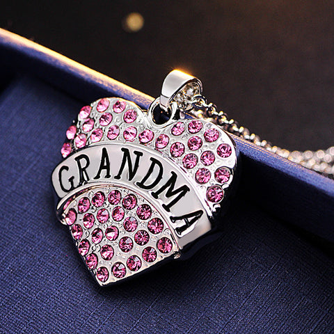 Pink Crystal GRANDMA Heart Necklace