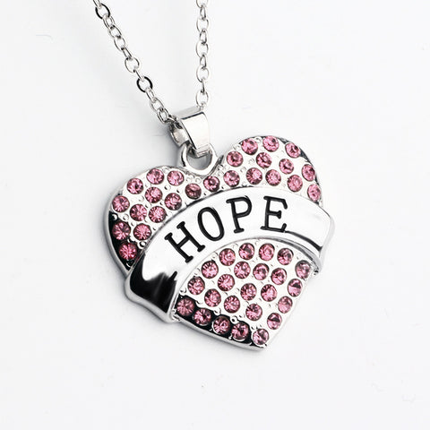 Pink Crystal HOPE Heart Necklace