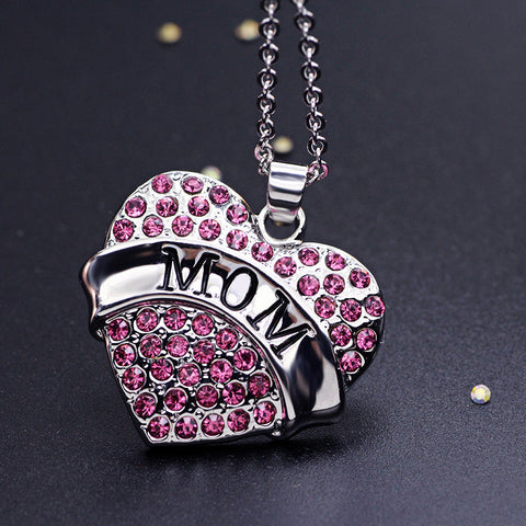 Pink Crystal MOM Heart Necklace