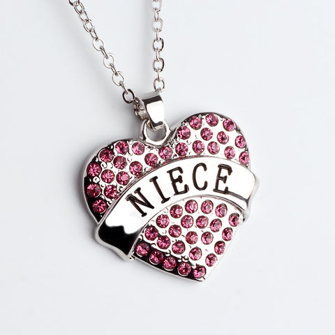 Pink Crystal NIECE Heart Necklace