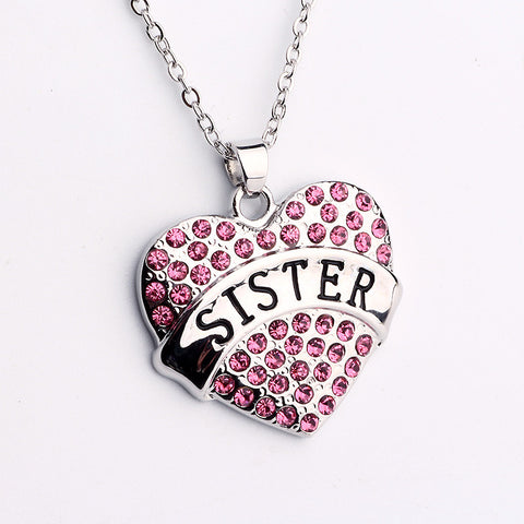Pink Crystal Sister Heart Necklace