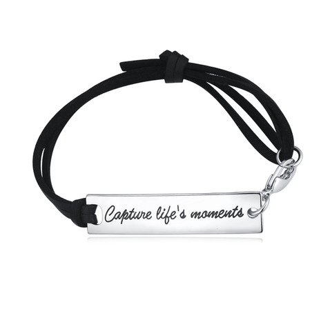 Capture Life's Moments Leather Strap Bracelet
