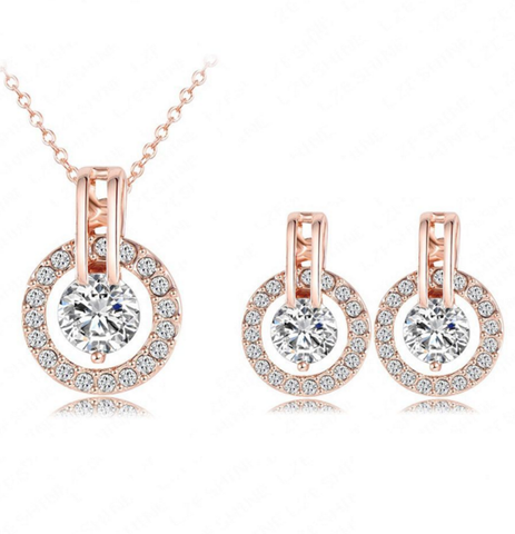 Round Crystal Necklace and Earring Set