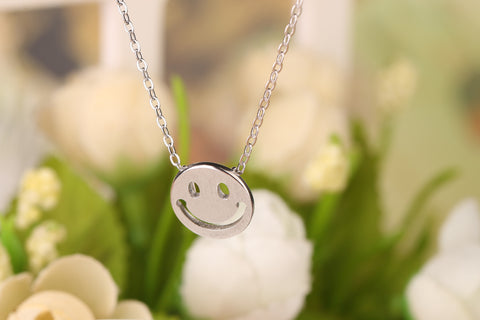 Smile Face Silver Chain Necklace