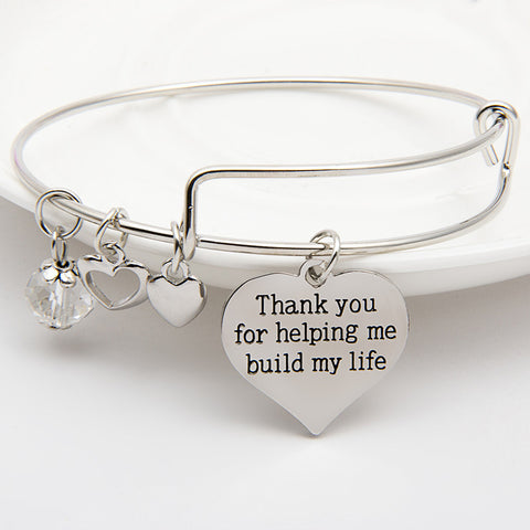 Thank You For Helping Me Build My Life Charm Bangle