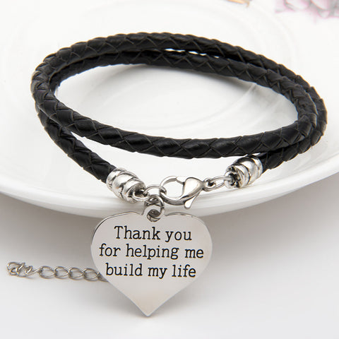 Thank You For Helping Me Build My Life Hand Stamped Bracelet