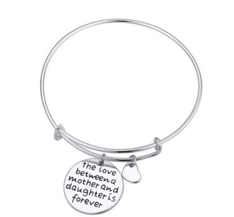 The love Between a Mother and Daughter is Forever Charms Bangle