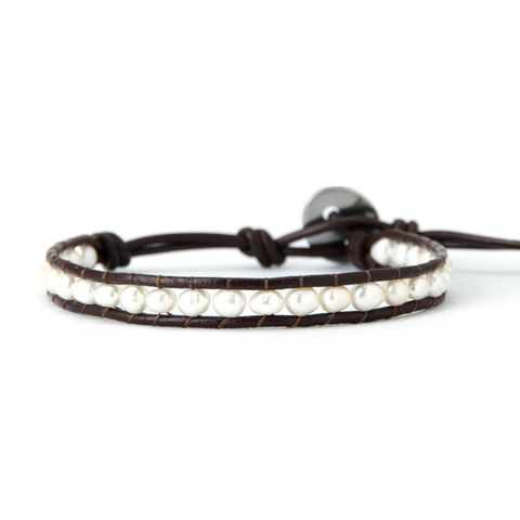 White Pearl on Brown Leather One Wrap Bracelet