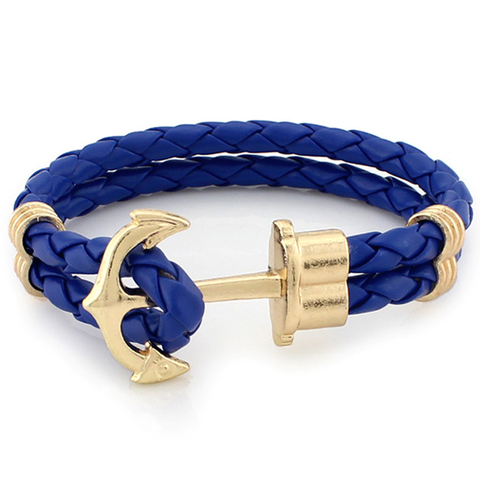Gold Anchor Braided Leather Bracelet