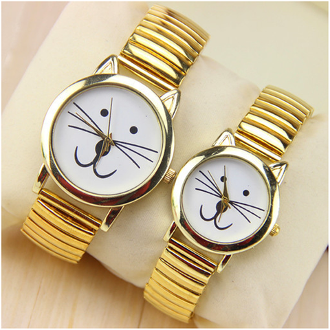 Gold Plated Cat Watch